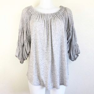 Sundance Balloon Sleeve Gray Heathered Top S